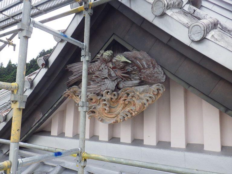 木造建築物の破風にある飾り「懸魚」についてイメージ